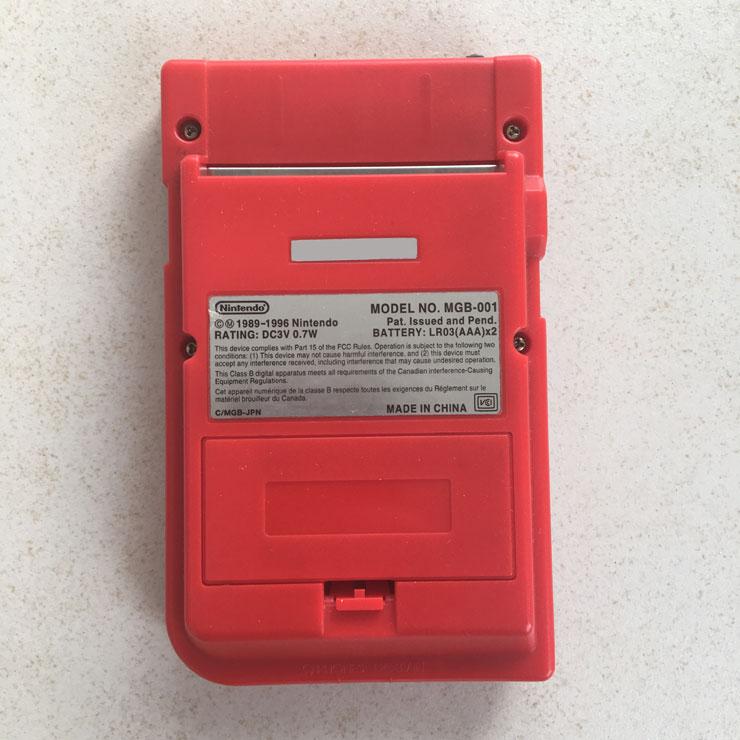 GameBoy Pocket device (red) back